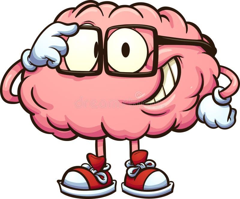 Cérebro Nerdy dos desenhos animados com vidros ilustração do vetor