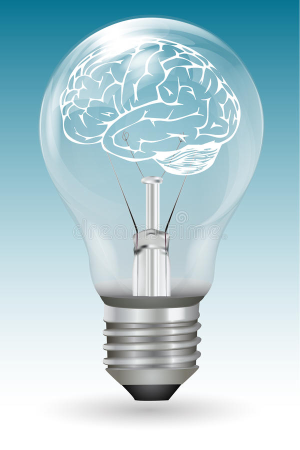Cérebro no bulbo elétrico ilustração royalty free