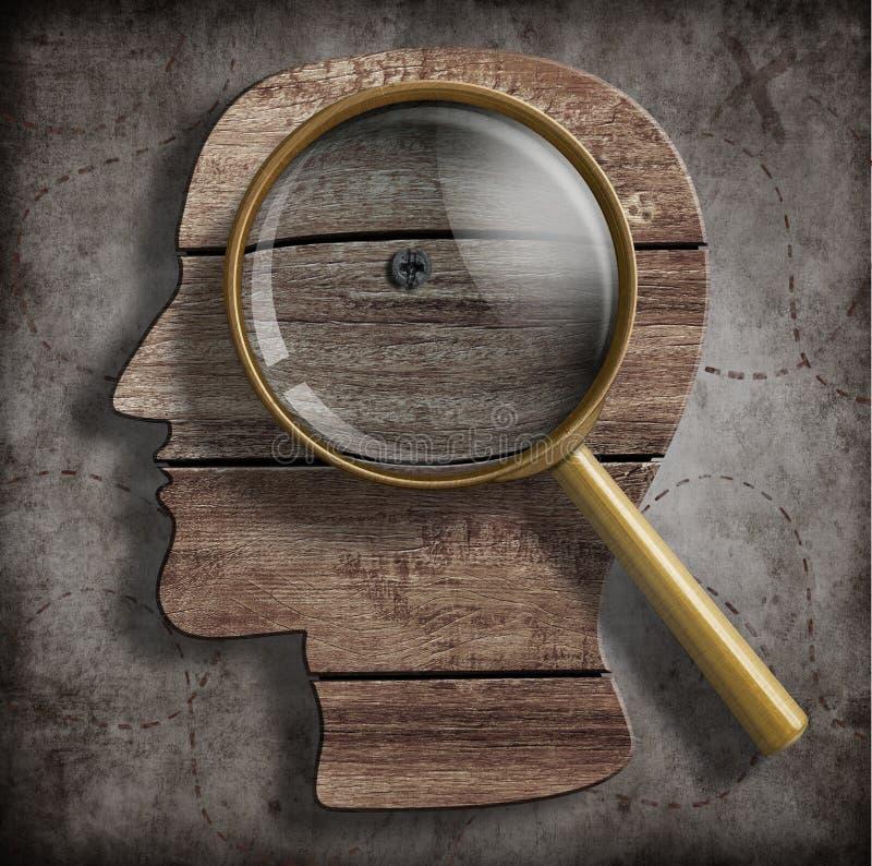 Cérebro ou conceito da pesquisa do problema da psicologia ilustração stock