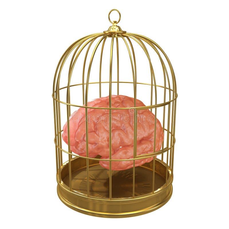 cérebro prendido 3d ilustração do vetor