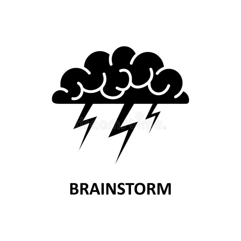 Cérebro, sessão de reflexão, ideia, logotipo da faculdade criadora e ícone Vetor ilustração do vetor