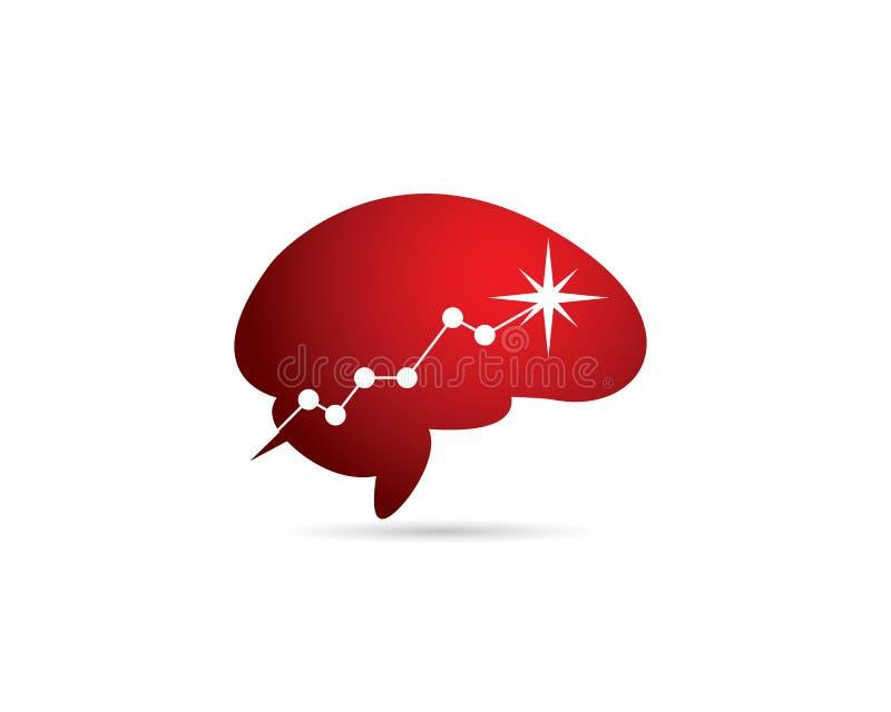 Cérebro vermelho com carta crescente de ascensão à efervescência máxima da estrela do ponto ilustração royalty free