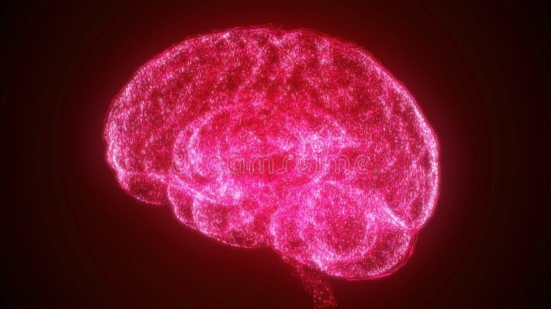 Cérebro vermelho da inteligência artificial de Digitas em uma nuvem de dados binários ilustração do vetor