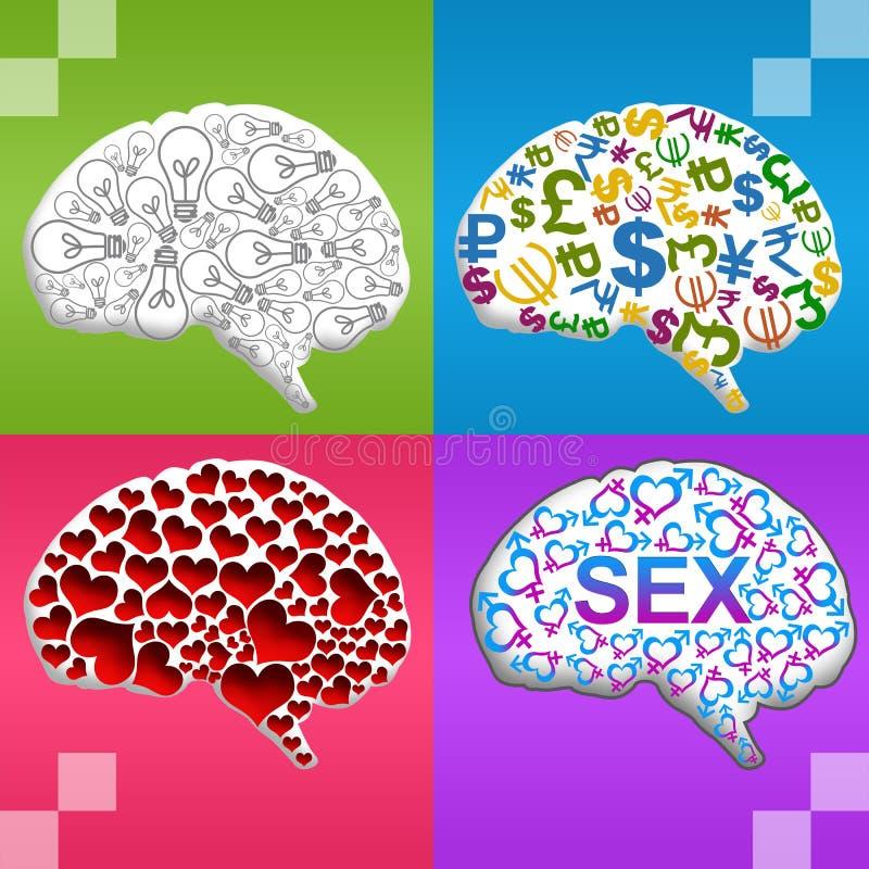 Cérebros com vários símbolos quatro blocos ilustração do vetor