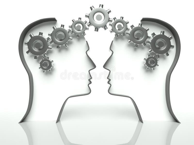 Cérebros e engrenagens na cabeça, conceito de uma comunicação imagens de stock royalty free
