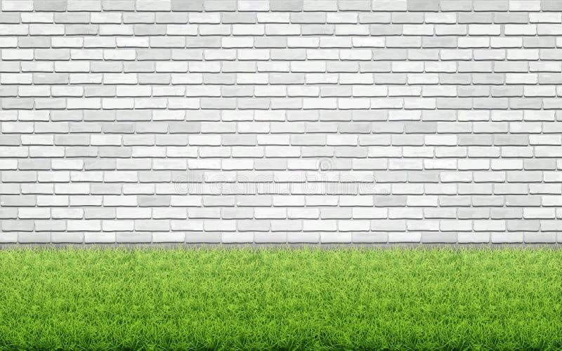 Césped de la hierba y pared de ladrillo blanca ilustración del vector