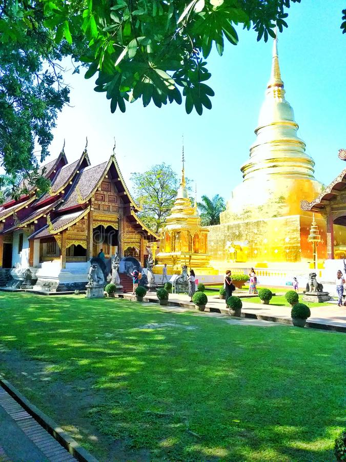 Césped dentro de Wat Phra Singh Thailand foto de archivo
