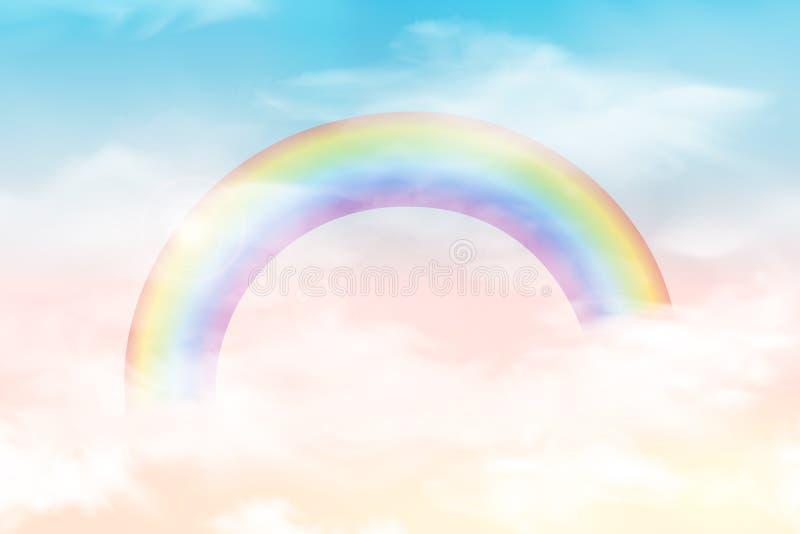 Céu abstrato com nuvens da cor Sun e fundo das nuvens com uma cor pastel macia Fundo mágico da paisagem da fantasia ilustração royalty free