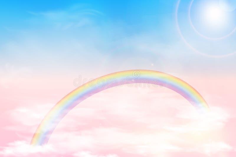 Céu abstrato com nuvens da cor Sun e fundo das nuvens com uma cor pastel macia Fundo mágico da paisagem da fantasia ilustração stock
