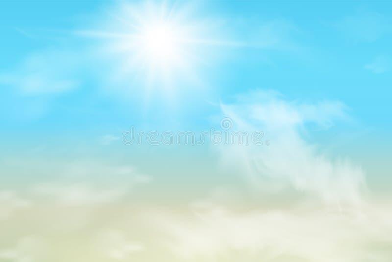 Céu abstrato com nuvens Sun e fundo das nuvens com uma cor pastel macia ilustração royalty free