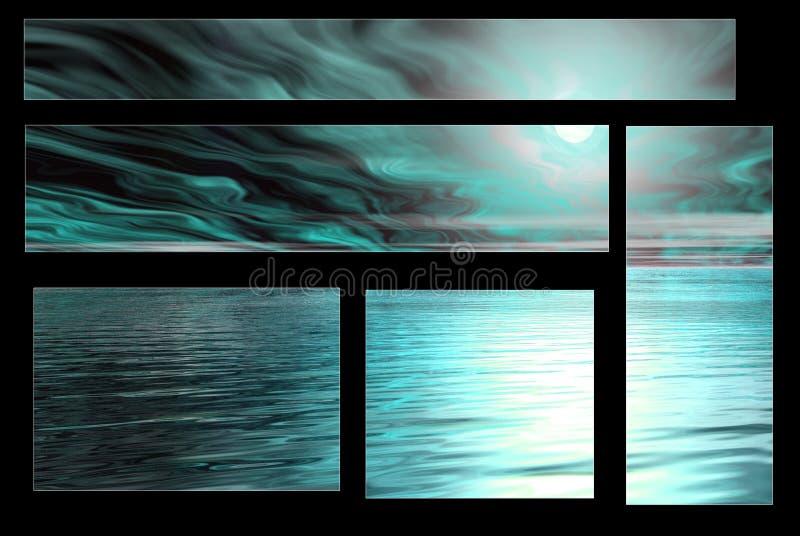 Céu azul assustador e água ilustração royalty free