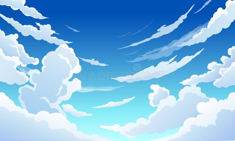 Céu azul com dia ensolarado claro das nuvens brancas ilustração do vetor
