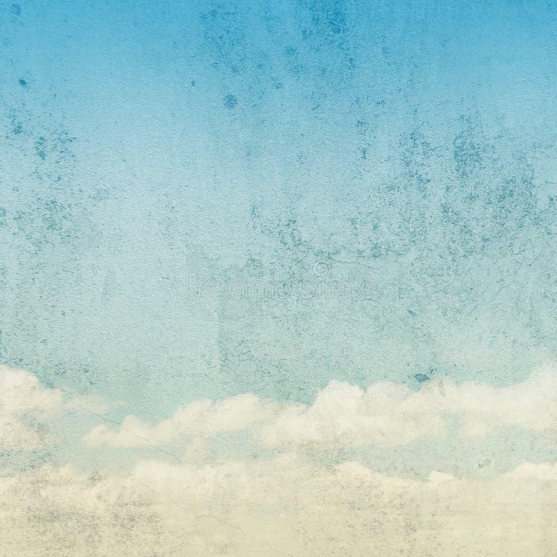 Céu azul com fundo do vintage das nuvens ilustração do vetor