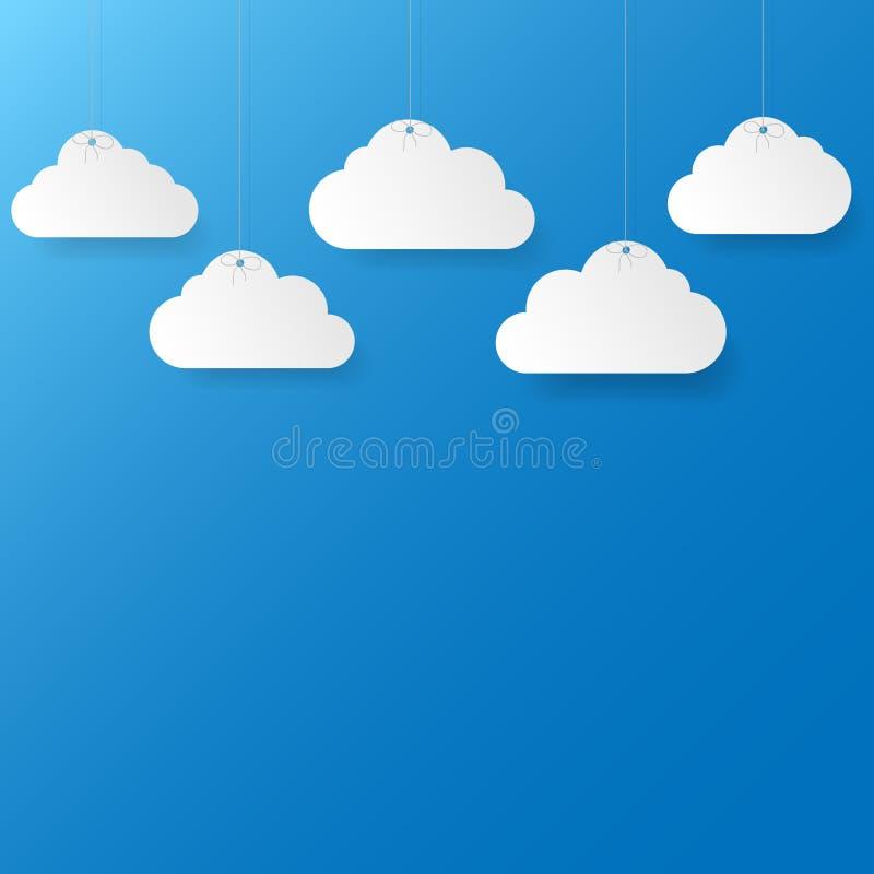 Céu azul com nuvens de papel. ilustração royalty free
