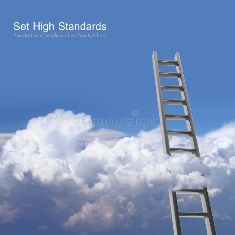 Céu azul com nuvens e escada fotos de stock
