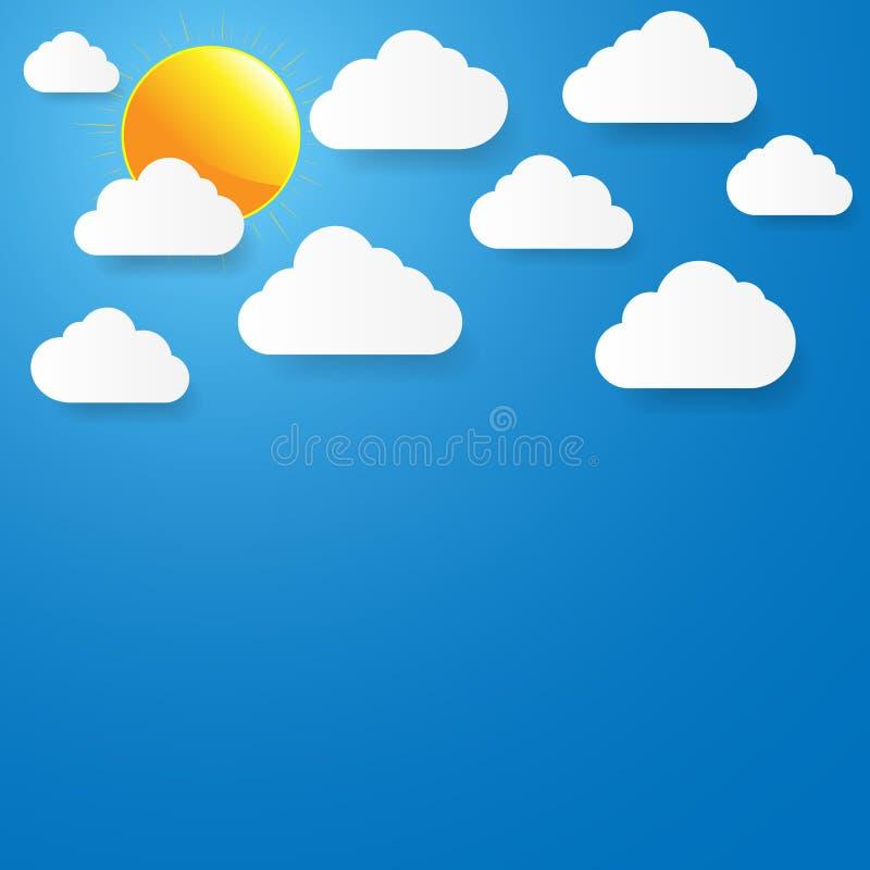 Céu azul com nuvens e o sol de papel. ilustração do vetor