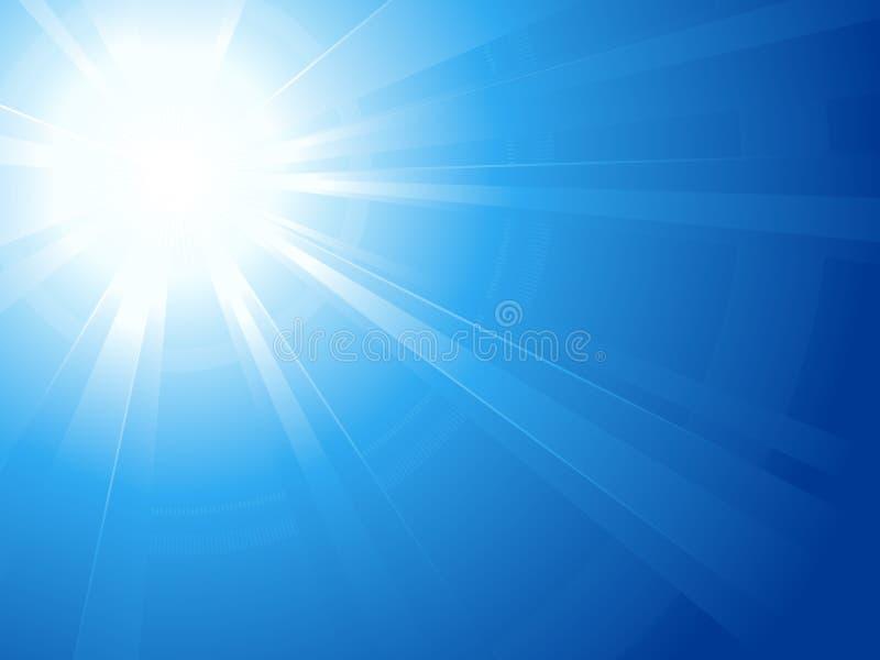 Céu azul com sol glaring, luz, estouro do sol ilustração royalty free