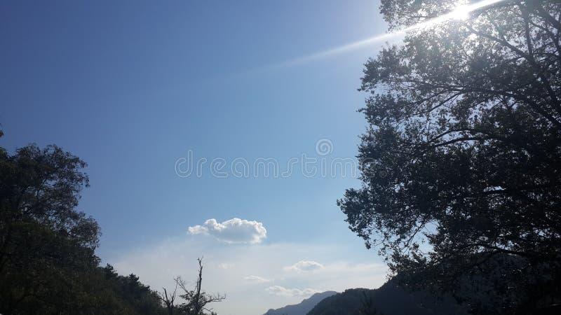 Céu azul constante e nuvens brancas fotos de stock royalty free