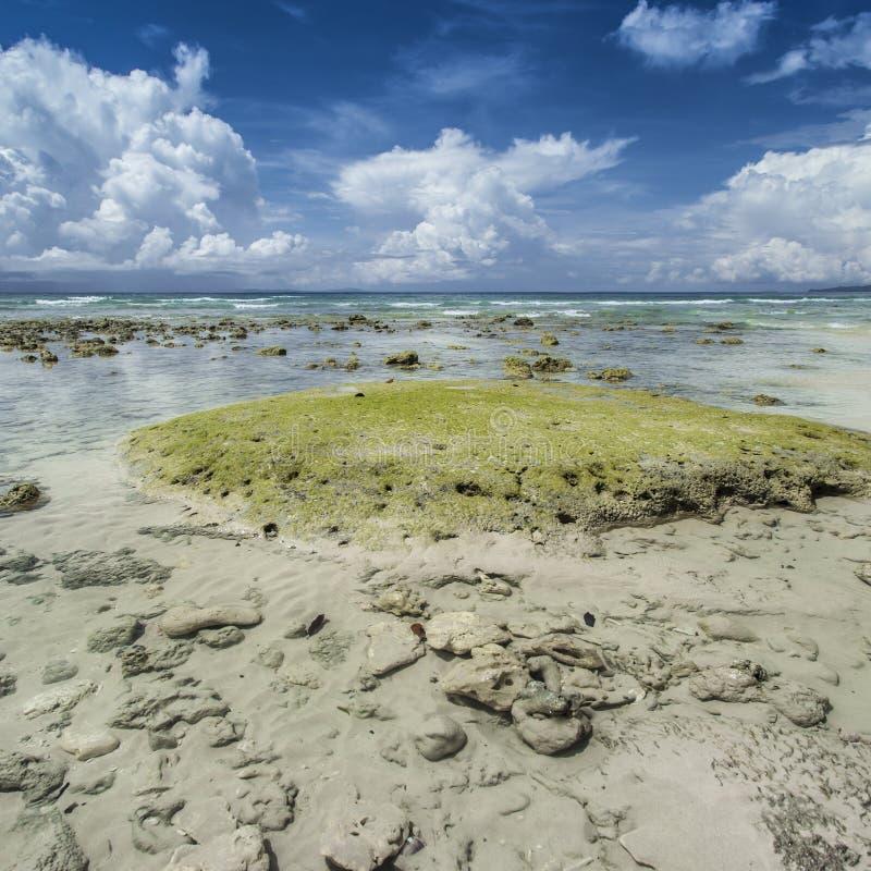 Céu azul da ilha de Havelock com nuvens brancas, ilhas de Andaman, Ind foto de stock