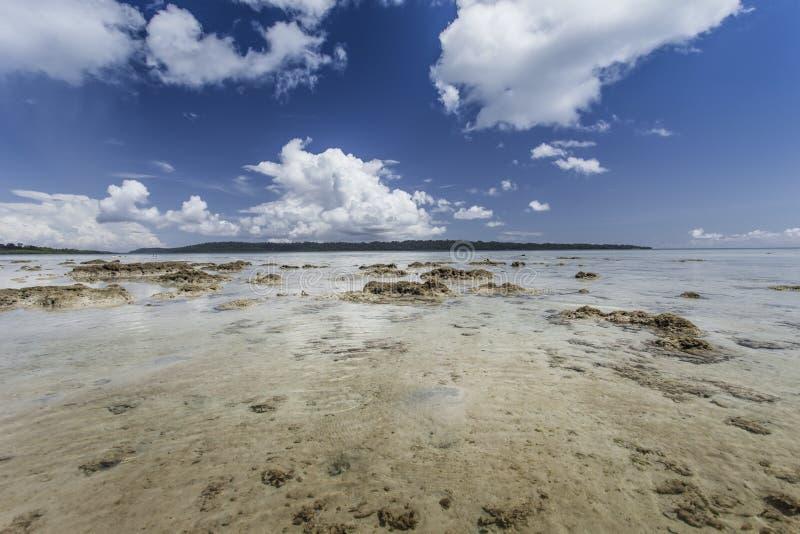 Céu azul da ilha de Havelock com nuvens brancas, ilhas de Andaman, Ind fotografia de stock royalty free