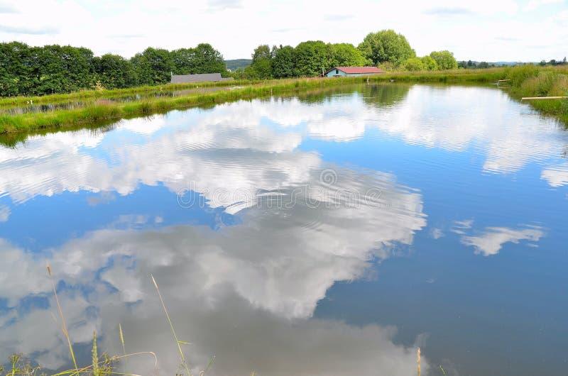 Céu azul da reflexão do lago foto de stock