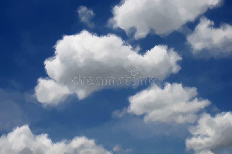 Céu azul de pintura de óleos com nuvem imagem de stock royalty free
