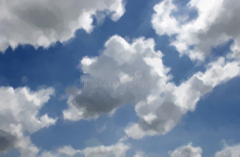 Céu azul de pintura de óleos com nuvem imagem de stock