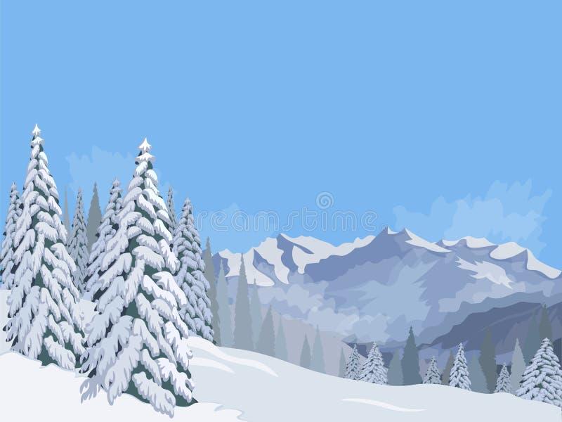 Céu azul do fundo das férias das férias da neve do abeto da paisagem da montanha do inverno ilustração royalty free