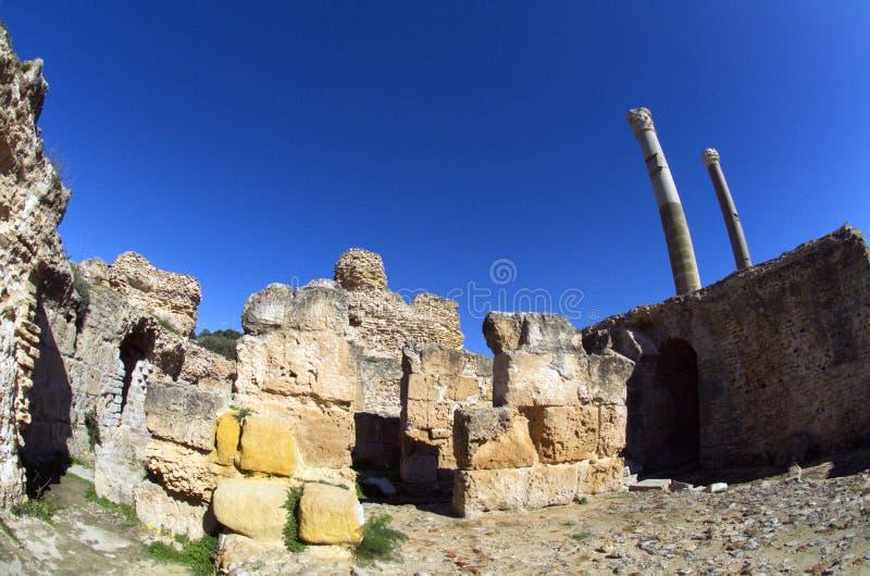Céu azul e ruínas em Carthage, Tunísia fotografia de stock royalty free