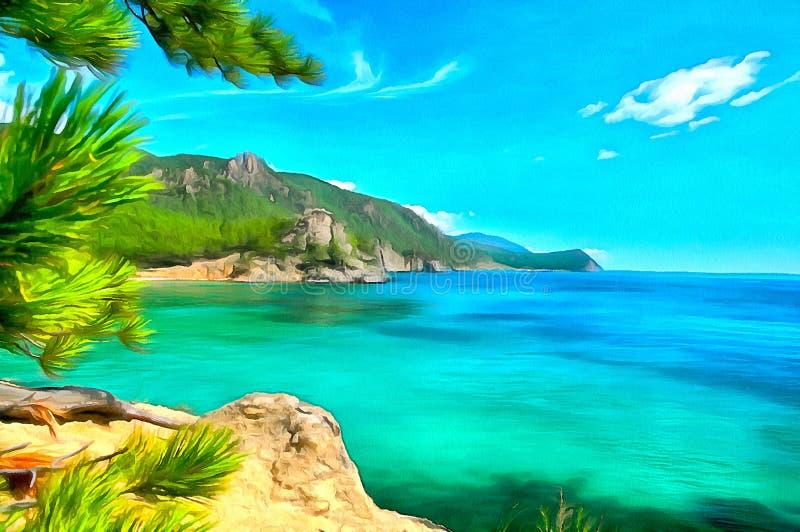 Céu azul e uma vista fabulosa da costa de um lago da montanha ilustração royalty free