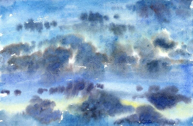Céu azul nebuloso da aquarela ilustração royalty free