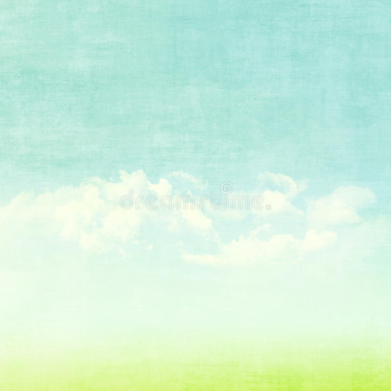 Céu azul, nuvens e fundo verde do verão do campo ilustração stock