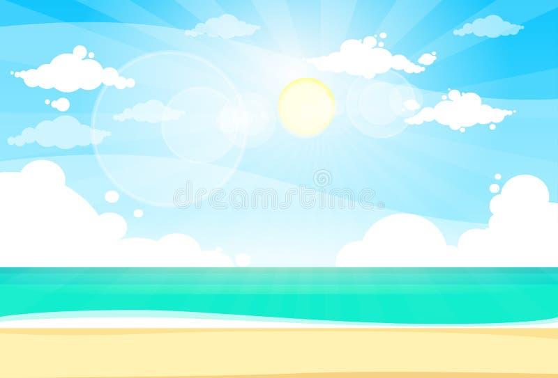 Céu azul Sun de férias de verão da praia da areia da costa de mar ilustração do vetor