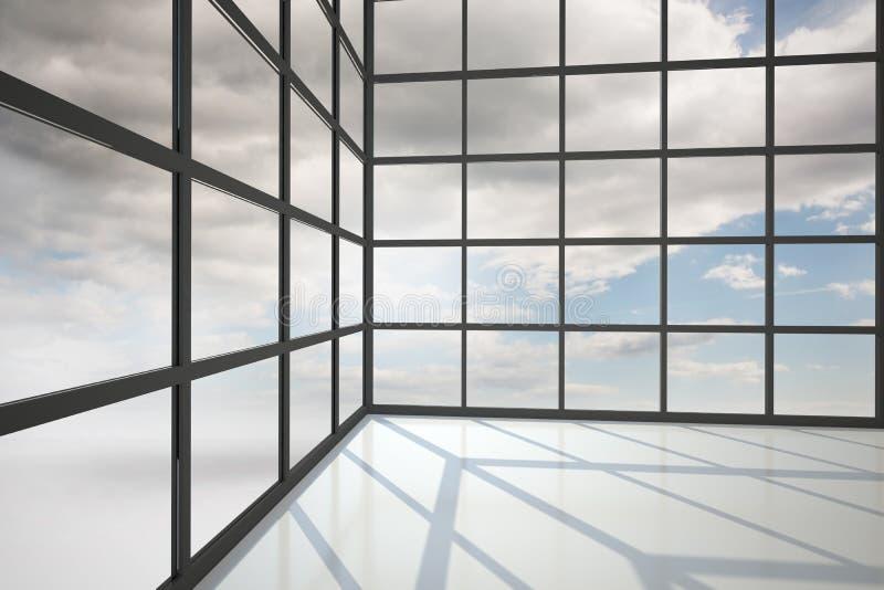 Céu azul visto através da janela ilustração do vetor