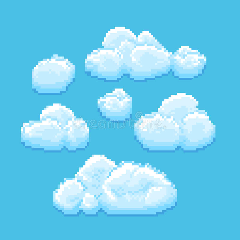 Céu com arte do pixel do vetor das nuvens Fundo de Cloudscape para o jogo retro ilustração do vetor