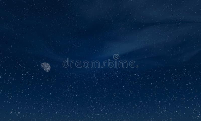 Céu completamente das estrelas com lua e nuvens 3D rendido ilustração stock