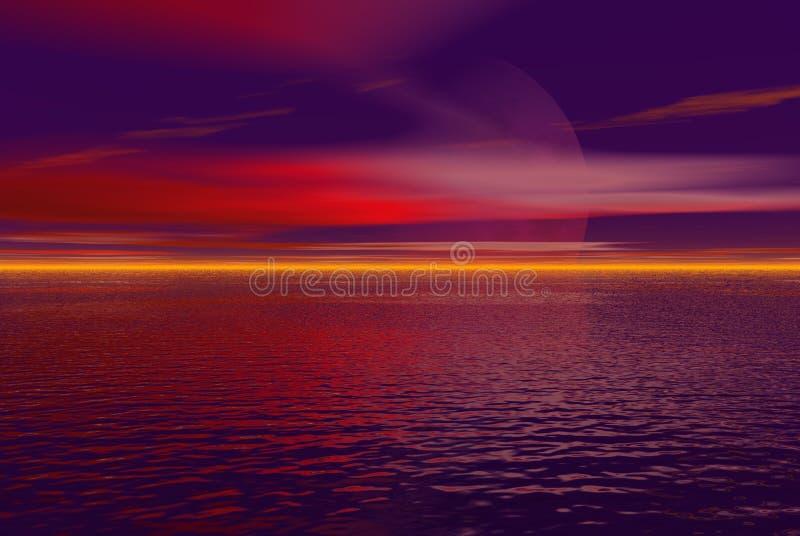 Céu cor-de-rosa e roxo ilustração do vetor