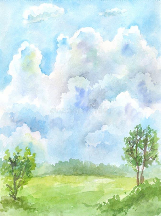 Céu da aquarela ilustração royalty free