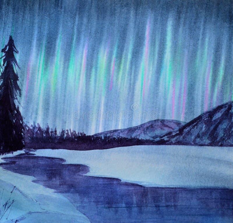 Céu da Aurora da paisagem do inverno da aquarela Rio na floresta da neve ilustração stock
