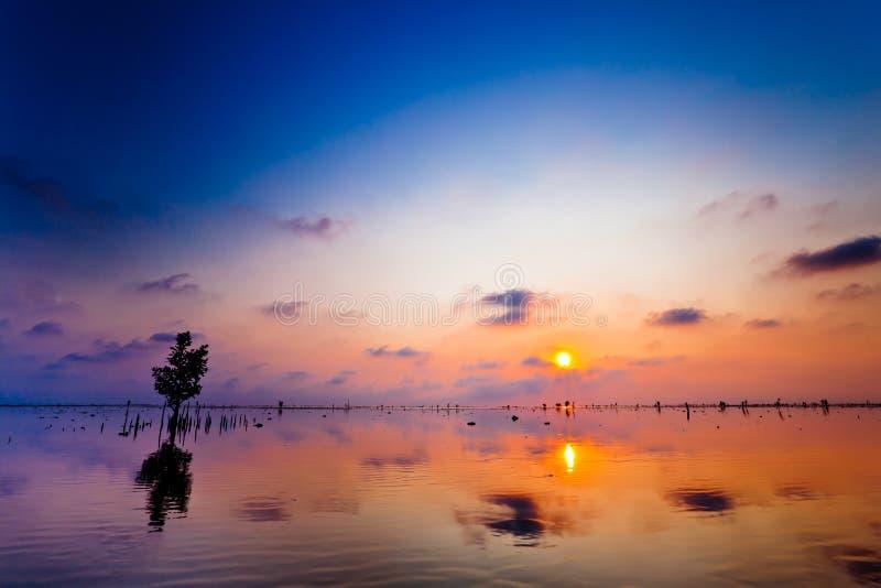 Céu da cor no lago no por do sol fotografia de stock