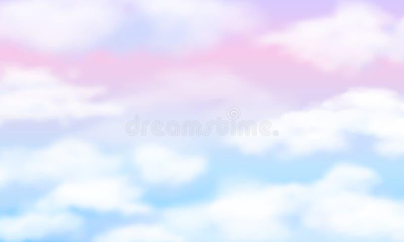 Céu da fantasia Nuvens brancas no fundo mágico do arco-íris Papel de parede nebuloso do vetor do unicórnio bonito feericamente ilustração do vetor