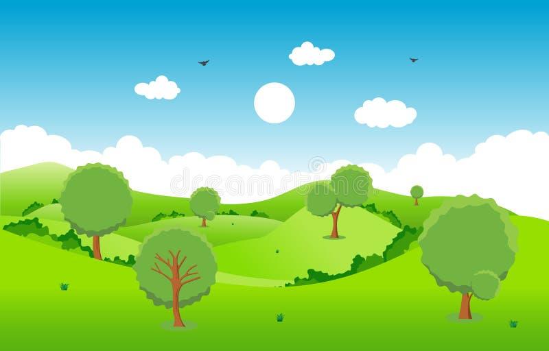 Céu da paisagem da natureza da árvore de grama verde dos montes das montanhas ilustração stock