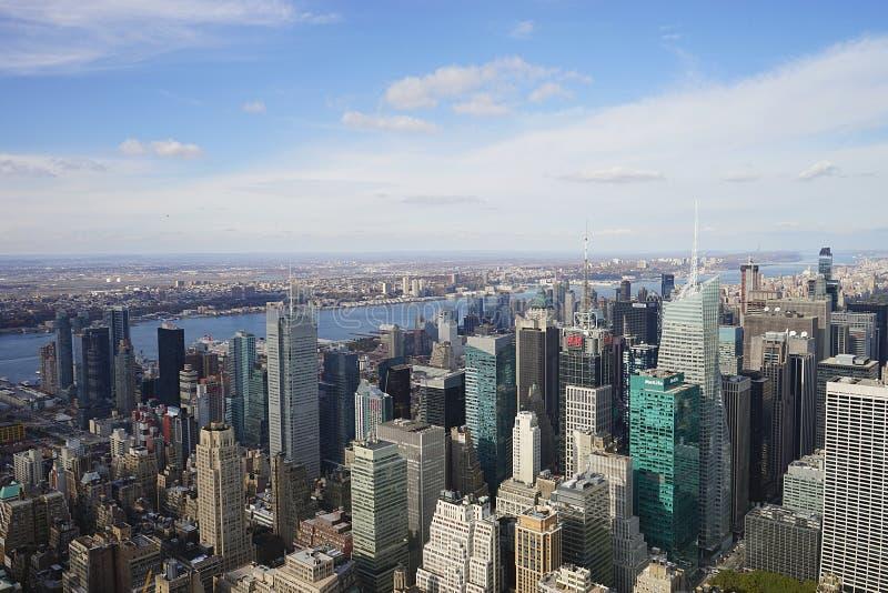 Céu da skyline de New York City Manhatten EUA foto de stock royalty free
