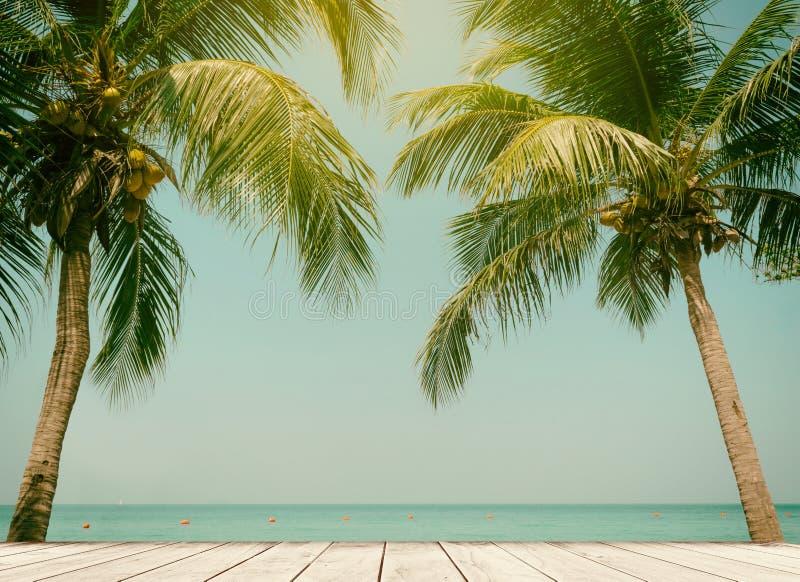 Céu de madeira do mar da praia do terraço do coco das palmeiras no verão imagens de stock royalty free