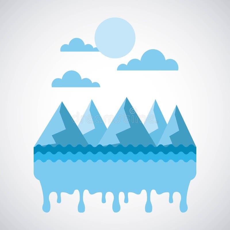 Céu derretido da água das montanhas da crosta de gelo da paisagem ilustração stock