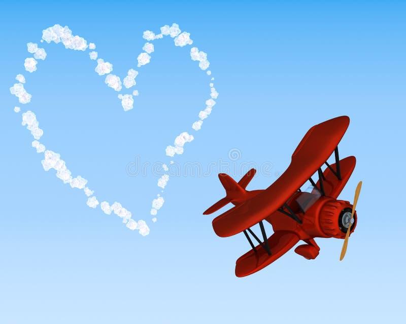 Céu do biplano que escreve um coração ilustração royalty free