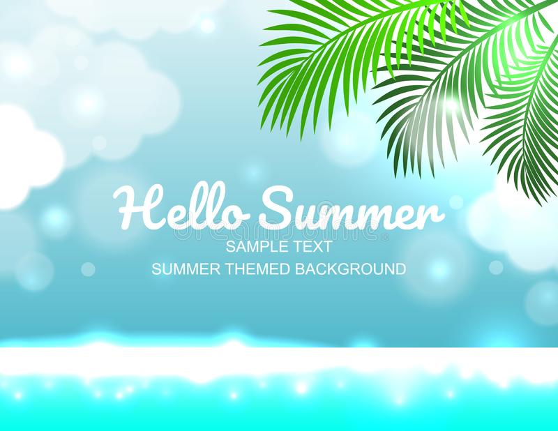 Céu do cartaz do verão da mola e disposição de projeto maravilhosos do mar ilustração royalty free
