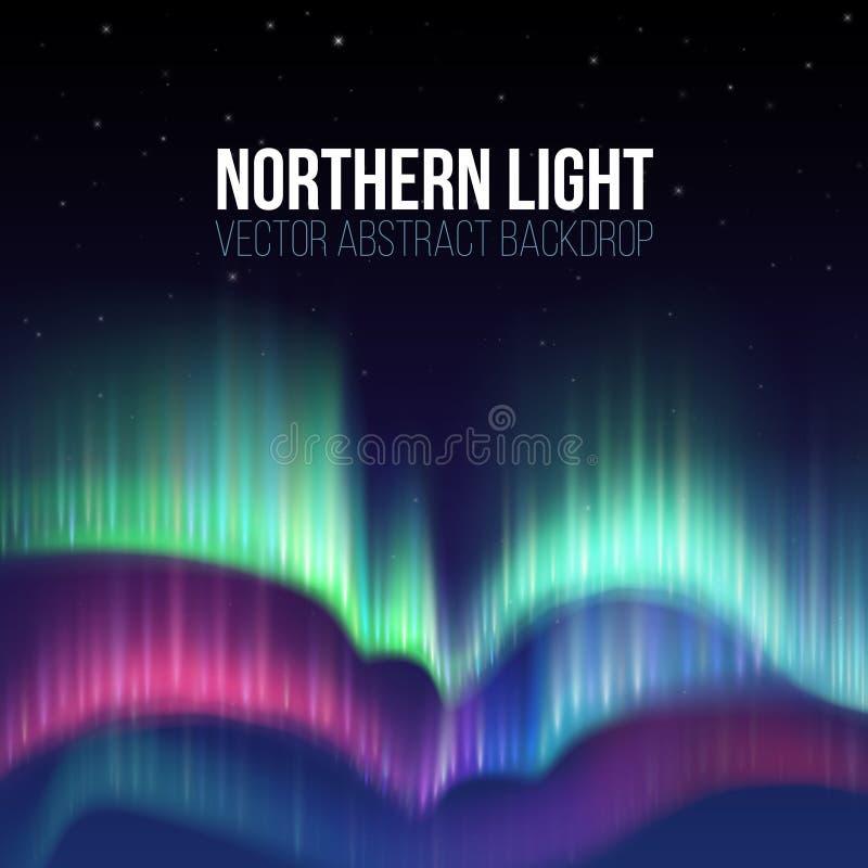 Céu do inverno com fundo do vetor das luzes polares ilustração stock