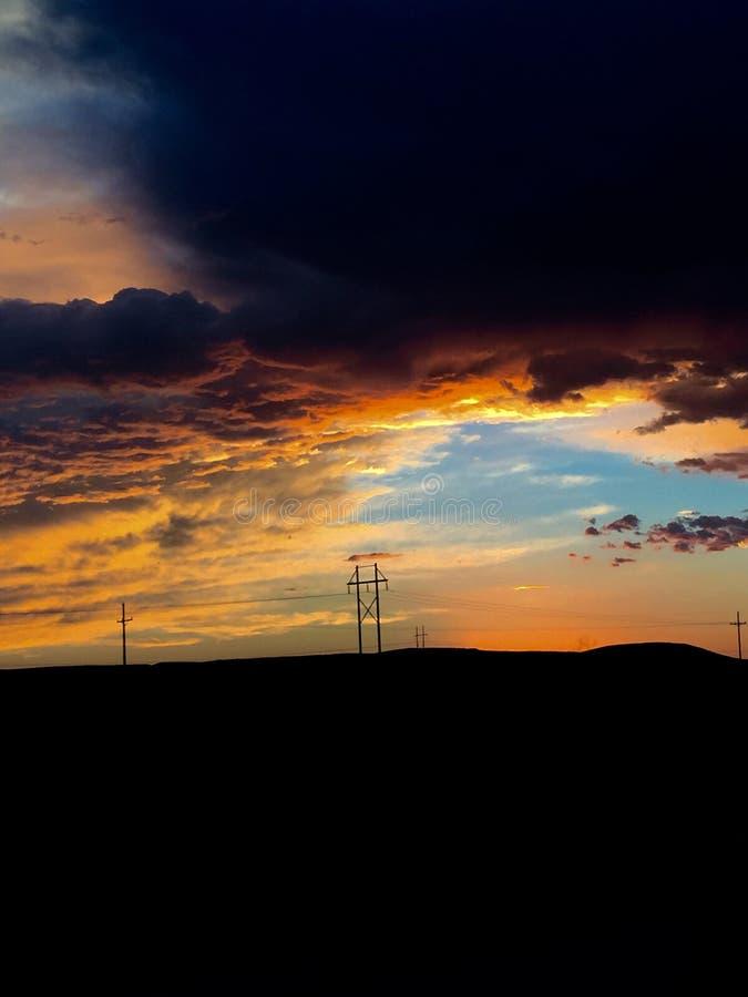 Céu do por do sol de New mexico no fogo imagem de stock royalty free