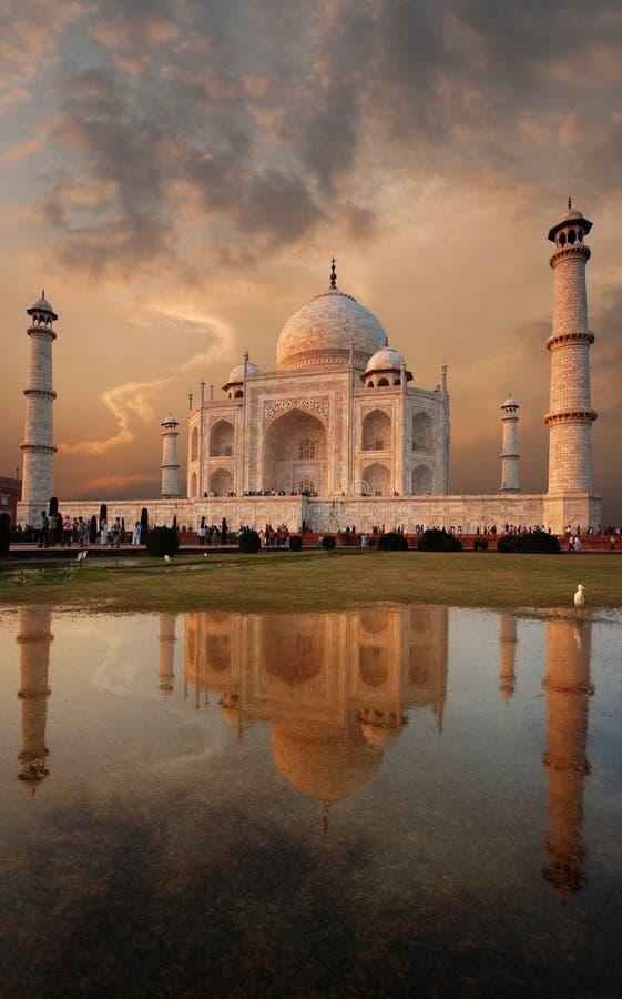 Céu do por do sol de Taj Mahal Front Reflection Grass foto de stock royalty free